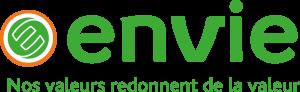 Logo d'Envie acteur de l'économie circulaire, la création d'emplois locaux et l'insertion professionnelle, la limitation des déchets